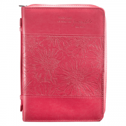 POCHETTE BIBLE, L, WITH GOD ALL THINGS […] MATT 19.26 ROSE - SIMILICUIR